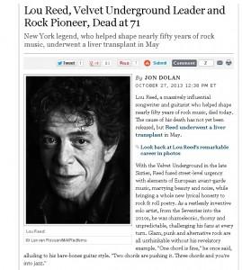 傳奇搖滾樂手 Lou Reed 過世,享壽71歲